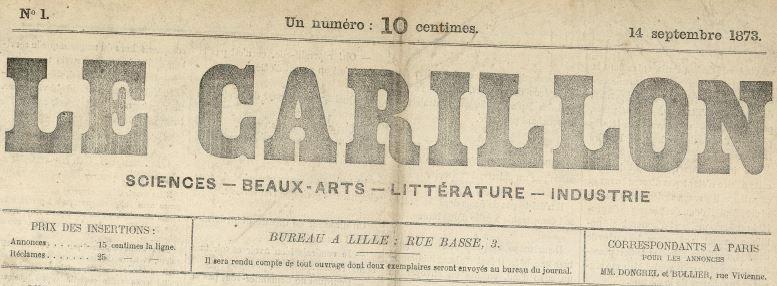 Photo (Médiathèque municipale Jean-Lévy (Lille)) de : Le Carillon. Lille, 1873-1874. ISSN 2123-4590.