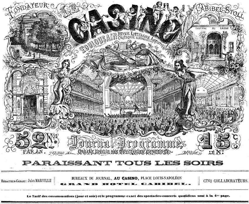 Photo (BnF / Gallica) de : Le Casino toulousain. Toulouse, 1870-[1877 ?]. ISSN 2123-5155.