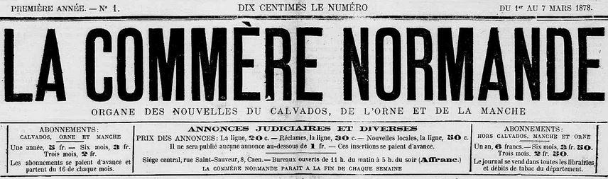 Photo (Calvados. Archives départementales) de : La Commère normande. Caen, 1878. ISSN 2124-2305.