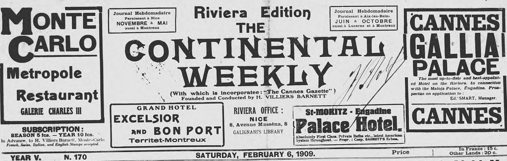 Photo (Alpes-Maritimes. Archives départementales) de : The Continental weekly. Riviera edition. Nice, 1908-[1922 ?]. ISSN 2074-2452.