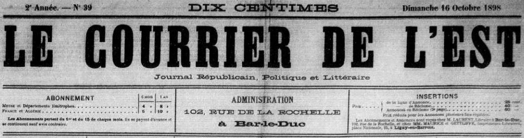 Photo (Meuse. Archives départementales) de : Le Courrier de l'Est. Bar-le-Duc, 1898-1906. ISSN 2124-7242.