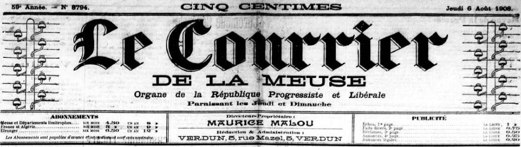 Photo (Meuse. Archives départementales) de : Le Courrier de la Meuse. Verdun, 1908-1914. ISSN 2124-7579.
