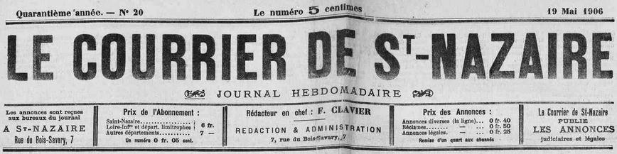 Photo (Loire-Atlantique. Archives départementales) de : Le Courrier de St-Nazaire. Saint-Nazaire, 1867-1944. ISSN 2124-8052.
