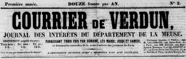 Photo (Meuse. Archives départementales) de : Courrier de Verdun. Verdun, 1850-1905. ISSN 2124-8230.