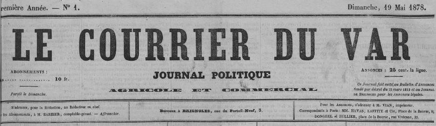 Photo (Var. Archives départementales) de : Le Courrier du Var. Brignoles, 1878-1897. ISSN 2124-9024.