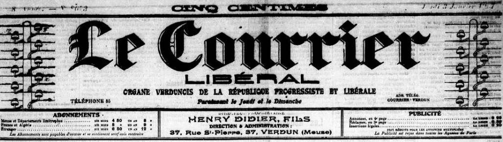 Photo (Meuse. Archives départementales) de : Le Courrier libéral. Verdun, 1906-1908. ISSN 2124-9180.