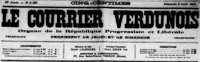 Photo (Meuse. Archives départementales) de : Le Courrier verdunois. Verdun, 1905-1906. ISSN 2124-9490.