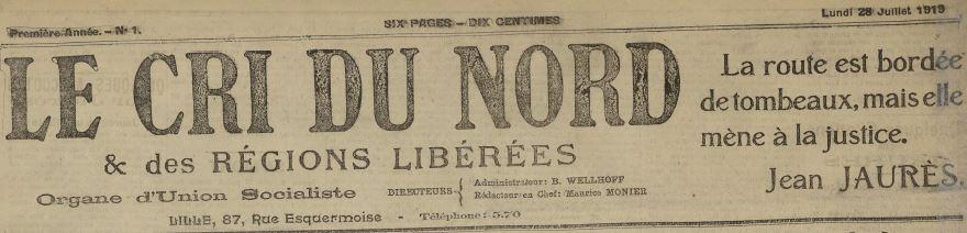 Photo (Médiathèque municipale Jean-Lévy (Lille)) de : Le Cri du Nord et des régions libérées. Lille, 1919-1921. ISSN 2125-110X.