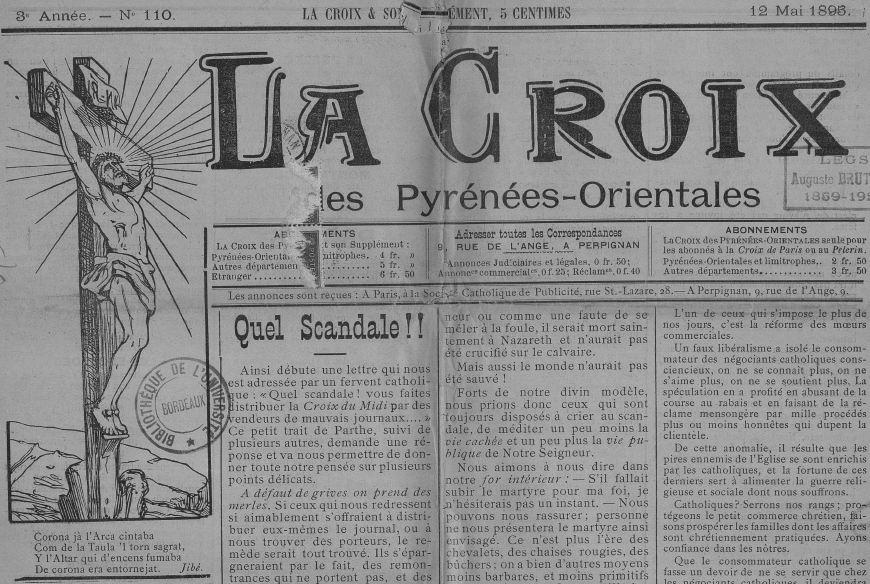 Photo (Université Bordeaux Montaigne) de : La Croix des Pyrénées-Orientales. Perpignan, 1893-[19..]. ISSN 2125-2742.