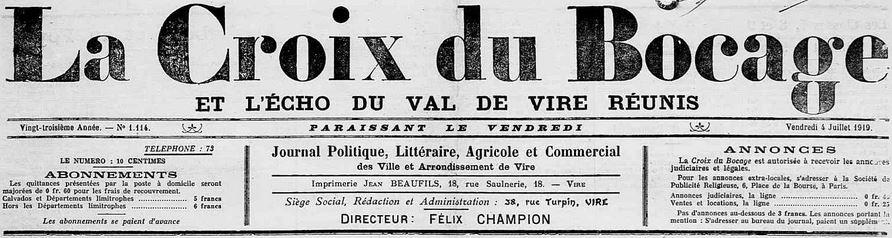 Photo (Calvados. Archives départementales) de : La Croix du Bocage et L'Écho du Val de Vire réunis. Vire, 1919-1944. ISSN 2125-2769.