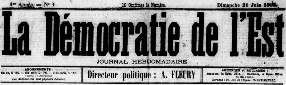 Photo (Meuse. Archives départementales) de : La Démocratie de l'Est. Saint-Mihiel, 1903-[1904 ?]. ISSN 2125-6594.