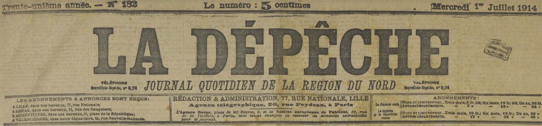 Photo (Médiathèque municipale Jean-Lévy (Lille)) de : La Dépêche. Lille, 1882-1940. ISSN 2125-7388.