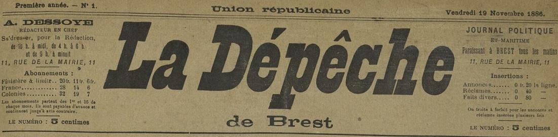Photo (Bibliothèque municipale de Brest, Archives municipales de Brest, Le Télégramme) de : La Dépêche de Brest. Brest, 1886-1944. ISSN 2125-7531.