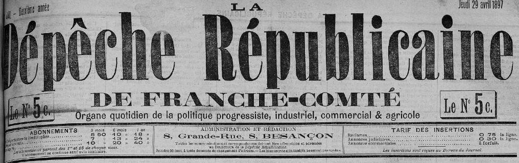 Photo (Bibliothèque municipale (Besançon)) de : La Dépêche républicaine de Franche-Comté. Besançon, 1897-1933. ISSN 0995-8231.