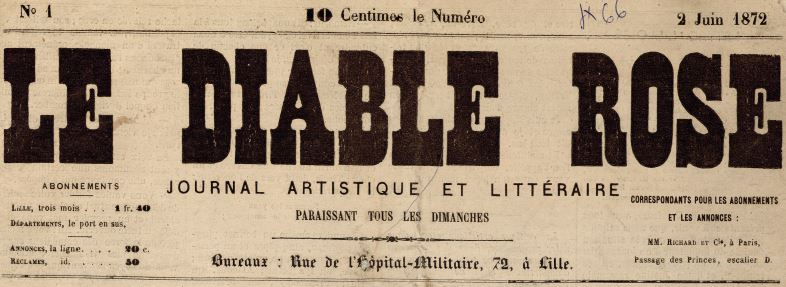 Photo (Médiathèque municipale Jean-Lévy (Lille)) de : Le Diable rose. Lille, 1872-1873. ISSN 2125-8759.