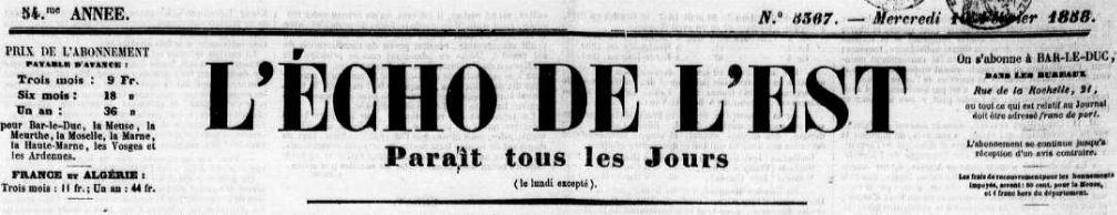 Photo (Meuse. Archives départementales) de : L'Écho de l'Est. Bar-le-Duc, 1830-[1939 ?]. ISSN 2126-2217.