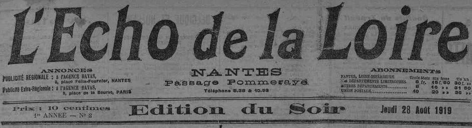 Photo (Loire-Atlantique. Archives départementales) de : L'Écho de la Loire. Nantes, 1919-1939. ISSN 2126-2810.