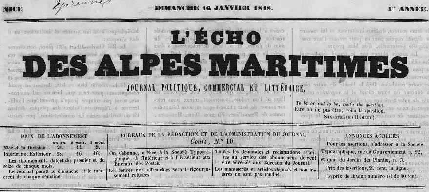 Photo (Alpes-Maritimes. Archives départementales) de : L'Écho des Alpes-Maritimes. Nice: Societé typographique, 1848-[1850?]. ISSN 2021-1120.