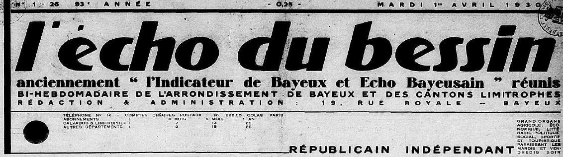 Photo (Centre régional des lettres (Basse-Normandie)) de : L'Écho du Bessin. Bayeux, 1930-1932. ISSN 2126-5623.
