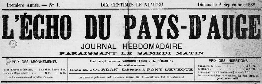 Photo (Calvados. Archives départementales) de : L'Écho du Pays d'Auge. Pont-l'Évêque, 1888-1902. ISSN 2126-6468.