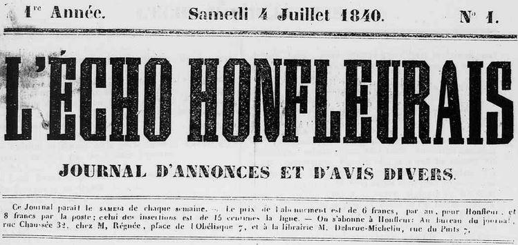 Photo (Calvados. Archives départementales) de : L'Écho honfleurais. Honfleur, 1840-1944. ISSN 2126-6956.