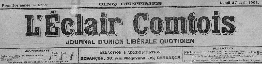Photo (Bibliothèque municipale (Besançon)) de : L'Éclair comtois. Besançon, 1903-1939. ISSN 0995-8142.