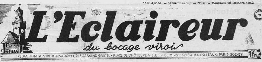 Photo (Calvados. Archives départementales) de : L'Éclaireur du bocage virois. Vire, 1942-1944. ISSN 2126-9807.