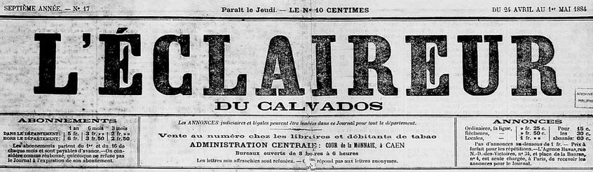 Photo (Calvados. Archives départementales) de : L'Éclaireur du Calvados. Caen, 1884-1939. ISSN 2126-9815.