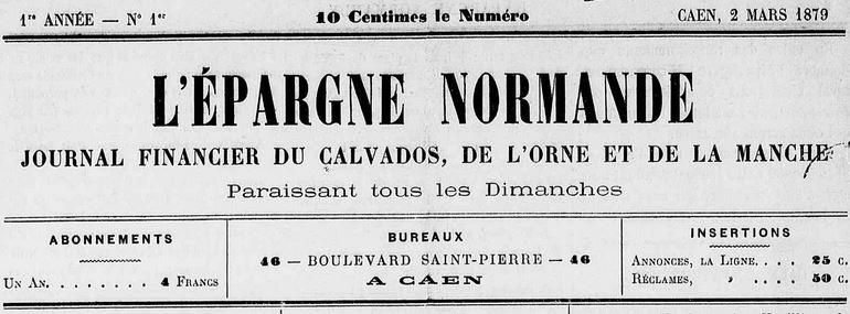 Photo (Calvados. Archives départementales) de : L'Épargne normande. Caen, 1879-1880. ISSN 2127-3510.