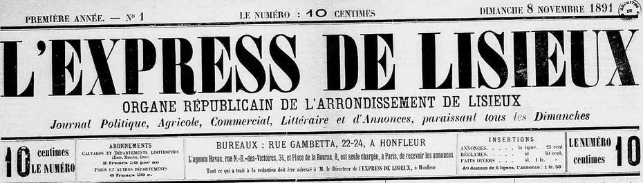Photo (Calvados. Archives départementales) de : L'Express de Lisieux. Honfleur, 1891-1910. ISSN 2127-7400.