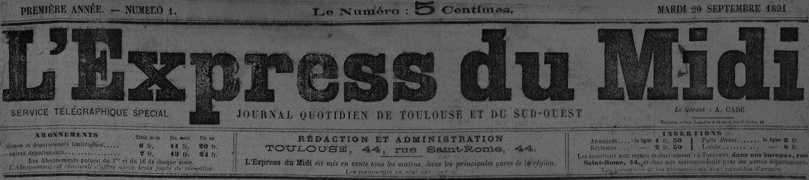 Photo (Bibliothèque de Toulouse) de : L'Express du Midi. Toulouse, 1891-1938. ISSN 2017-0238.