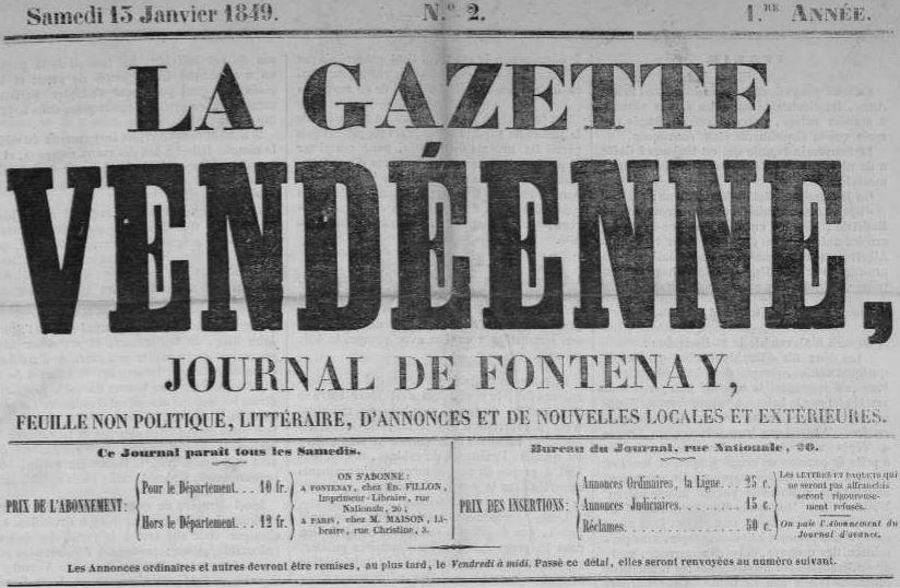 Photo (Vendée. Archives départementales) de : La Gazette vendéenne. Fontenay-le-Comte, 1849-1882. ISSN 2128-8194.