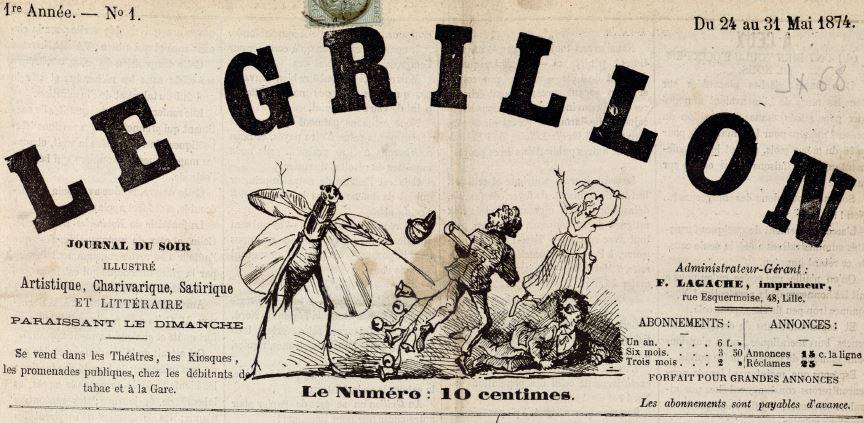 Photo (Médiathèque municipale Jean-Lévy (Lille)) de : Le Grillon. Lille, 1874. ISSN 2129-0199.