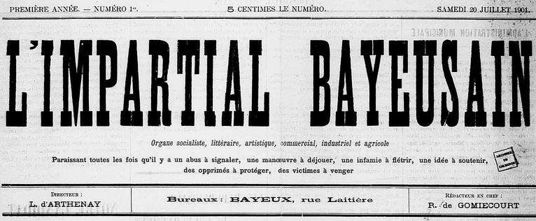 Photo (Calvados. Archives départementales) de : L'Impartial bayeusain. Bayeux, 1901-1906. ISSN 2129-3252.