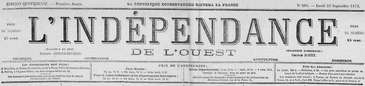 Photo (Loire-Atlantique. Archives départementales) de : L'Indépendance de l'Ouest. [Édition du soir]. Nantes, 1871-1874. ISSN 2129-3910.