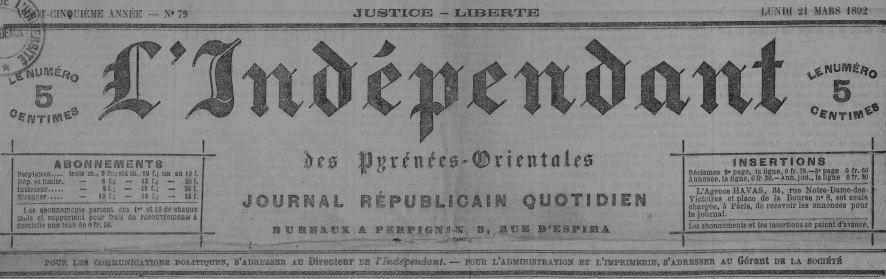 Photo (Université Bordeaux Montaigne) de : L'Indépendant des Pyrénées-Orientales. Perpignan, 1846-1944. ISSN 2129-5956.