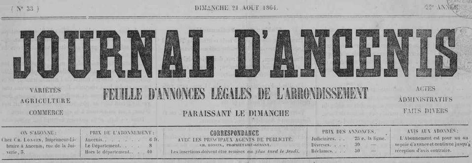 Photo (Loire-Atlantique. Archives départementales) de : Journal d'Ancenis. Ancenis, 1860-1944. ISSN 2130-1719.
