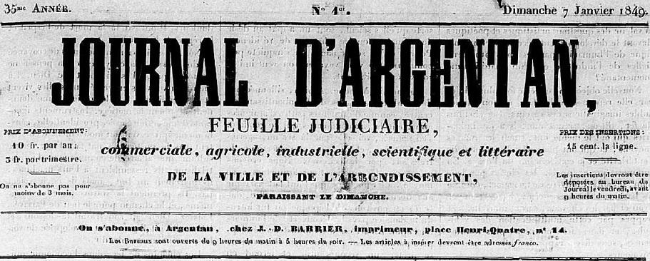 Photo (Centre régional des lettres (Basse-Normandie)) de : Journal d'Argentan. Argentan, 1849-1851. ISSN 2130-2065.