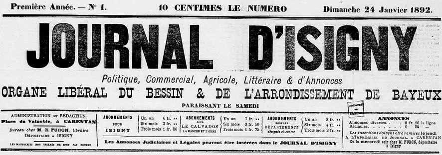 Photo (Calvados. Archives départementales) de : Journal d'Isigny. Isigny, 1892-1894. ISSN 2130-2359.
