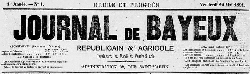 Photo (Calvados. Archives départementales) de : Journal de Bayeux. Bayeux, 1891-1944. ISSN 2130-2553.