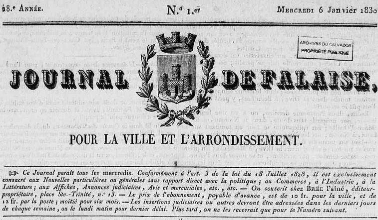 Photo (Calvados. Archives départementales) de : Journal de Falaise. Falaise, 1830-1912. ISSN 2130-3592.