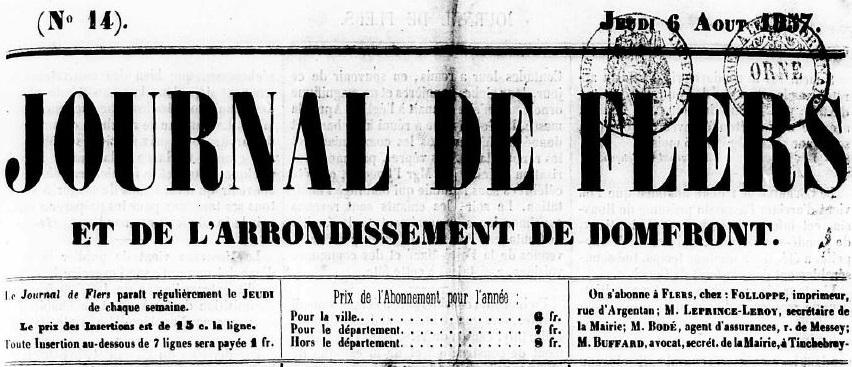 Photo (Centre régional des lettres (Basse-Normandie)) de : Journal de Flers et de l'arrondissement de Domfront. Flers, 1857-1943. ISSN 2130-3614.