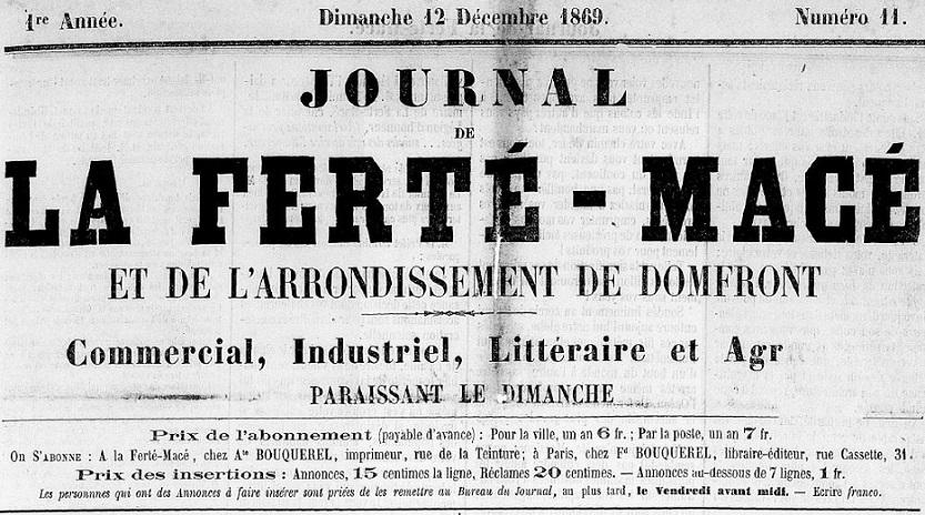 Photo (Centre régional des lettres (Basse-Normandie)) de : Journal de La Ferté-Macé et de l'arrondissement de Domfront. La Ferté-Macé, 1869-1943. ISSN 2130-4378.