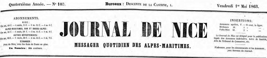 Photo (Alpes-Maritimes. Archives départementales) de : Journal de Nice. Nice, 1863-1931. ISSN 2017-3253.