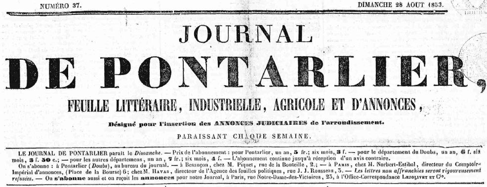 Photo (Pontarlier (Doubs). Archives municipales) de : Journal de Pontarlier. Pontarlier: Laithier, 1850-1944. ISSN 2017-3296.