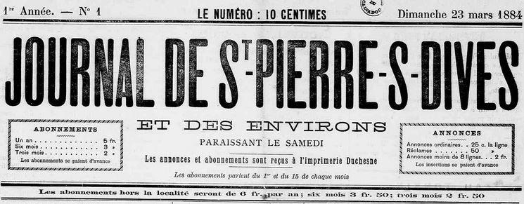 Photo (Calvados. Archives départementales) de : Journal de St-Pierre-s-Dives et des environs. Saint-Pierre-sur-Dives, 1884-1944. ISSN 2130-6141.