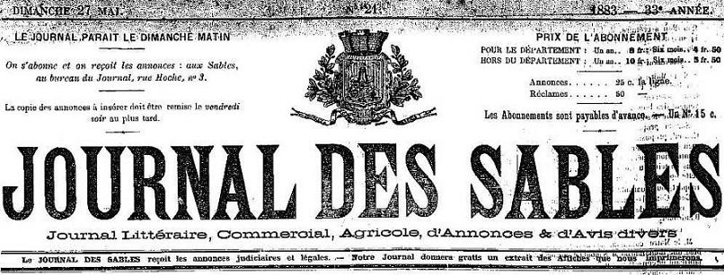 Photo (Vendée. Archives départementales) de : Journal des Sables. Les Sables d'Olonne, 1883-1898. ISSN 2130-7911.