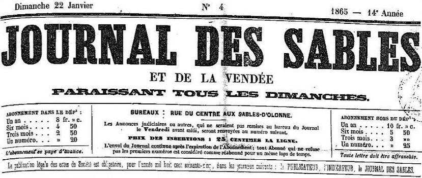 Photo (Vendée. Archives départementales) de : Journal des Sables et de la Vendée. Les Sables d'Olonne, 1865-1883. ISSN 2130-7938.
