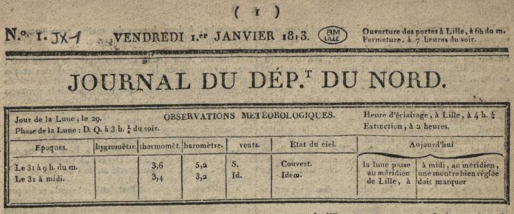 Photo (Médiathèque municipale Jean-Lévy (Lille)) de : Journal du département du Nord. Lille: Marlier, 1812-1830. ISSN 2017-3709.