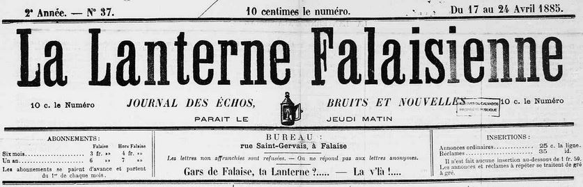 Photo (Calvados. Archives départementales) de : La Lanterne falaisienne. Falaise, 1884-[1927 ?]. ISSN 2131-1560.